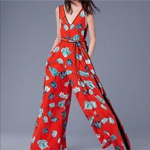 Diane Von Furstenberg Red Floral Jumpsuit
